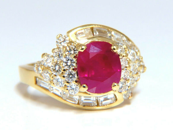 GIA Certified 4.08ct Burma Red Ruby Diamonds Ring 18 Karat