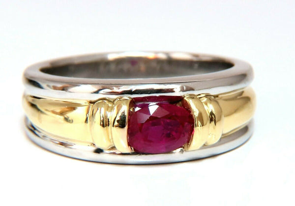 GIA Certified 1.19ct Burmese Red Ruby Mens Ring 18 Karat & Platinum