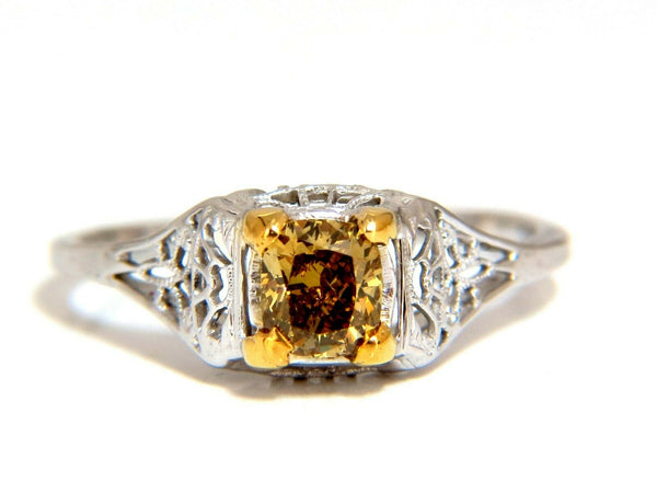 .57ct Natural Fancy Orange Brown Diamond Vintage Gilt Ring 14 Karat