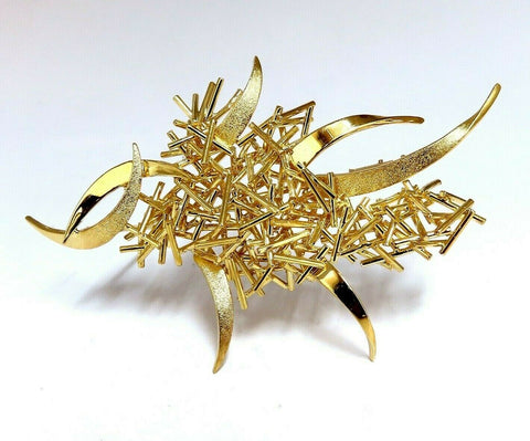 Modern Hand Made Fused Gold Sticks Pin 18 Karat