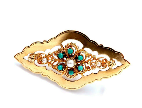 Natural Turquoise & Seed Pearl Open Gilt Etching Patterned Pin 14 Karat