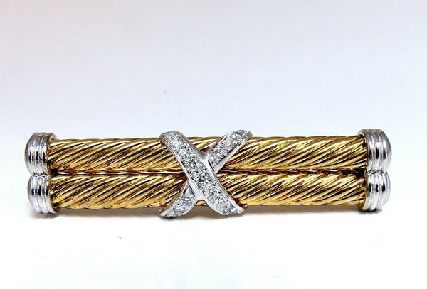 .35ct Natural Diamonds Candy Cane Twisting X Double Stick Pin