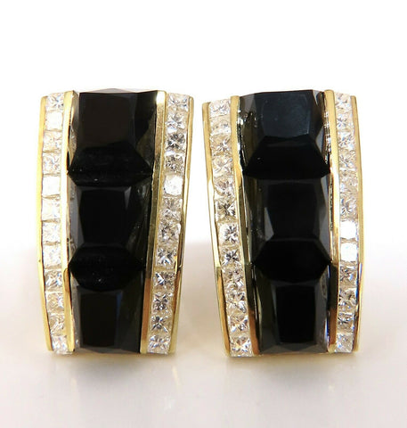 2.50ct Natural Princess Cut Diamonds Jet Black Onyx Clip Earrings 18 Karat