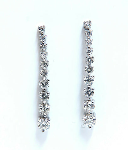 2.00ct Natural Diamonds Dangle Cascading Earrings 14 Karat