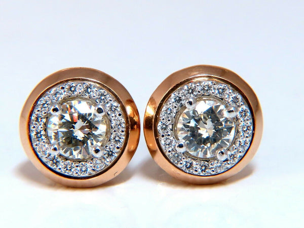 1.12ct Natural Round Diamond Stud Earrings 14 Karat Halo