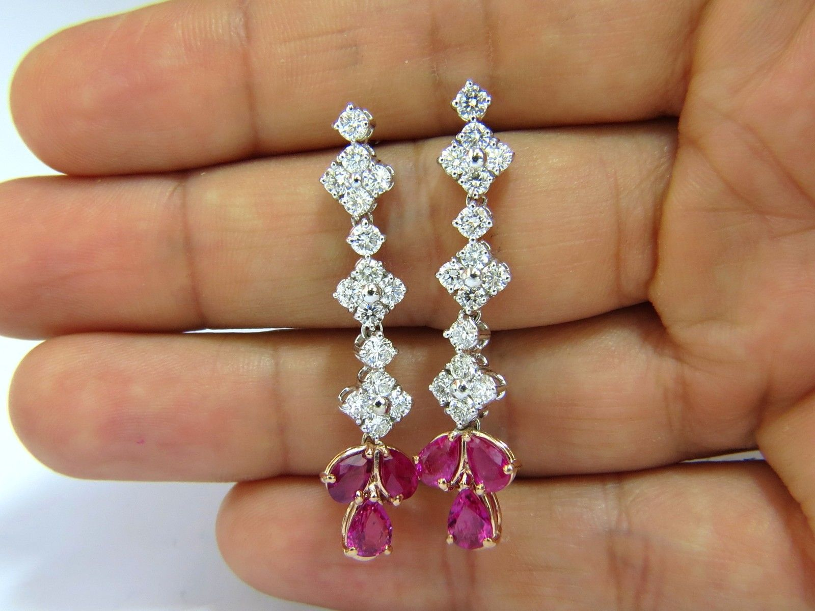 5.94CT Natural Red No Heat Ruby Diamond Dangle Earrings 14KT Unheated