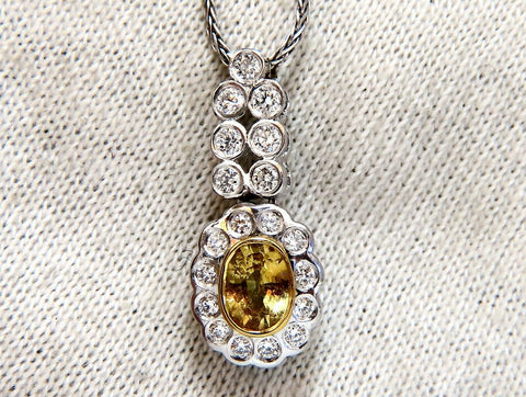 1.19ct Natural Yellow Sapphire Diamonds Dangle Pendant 14 Karat