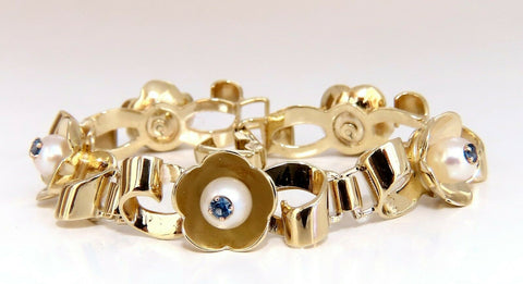.50ct Natural Sapphires within Pearls Vintage Clover Bracelet 14 Karat Vintage