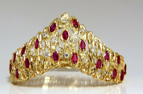 6.00ct Natural Ruby Diamond Coral Patina Chevron Cuff Bracelet 18 Karat