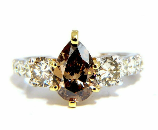 1.50ct Natural Fancy Brown & 1.30ct Diamonds Mod Three Ring 14 Karat
