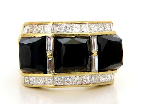 2.00ct Natural Jet Black Onyx Diamonds Ring 18 Karat