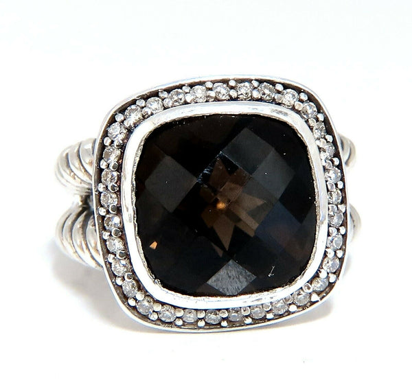 Natural Smokey Topaz Diamonds Ring Silver 925