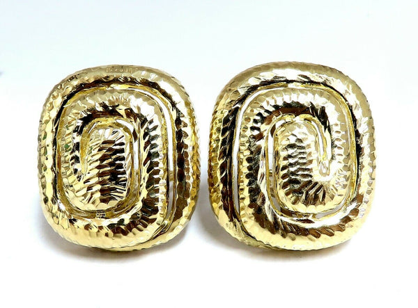 Aztec Inca South American Endless Maze Domed Hammered Rustic Earrings 18 Karat