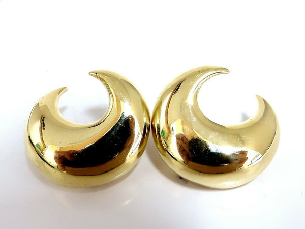 Islam Arab Domed Crescent Left Right Lobe Earrings 18 Karat High Shine