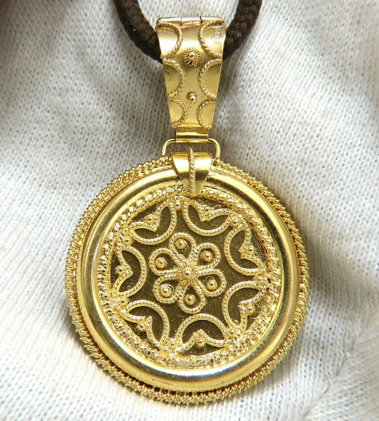 Circular Domed Iconic Emblem Gold Pendant 18 Karat Kabyle Tribal