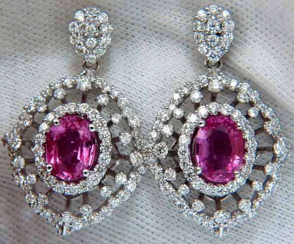 6.42CT NATURAL INTENSE FANCY PINK SAPPHIRE DIAMONDS DANGLE EARRINGS 14KT