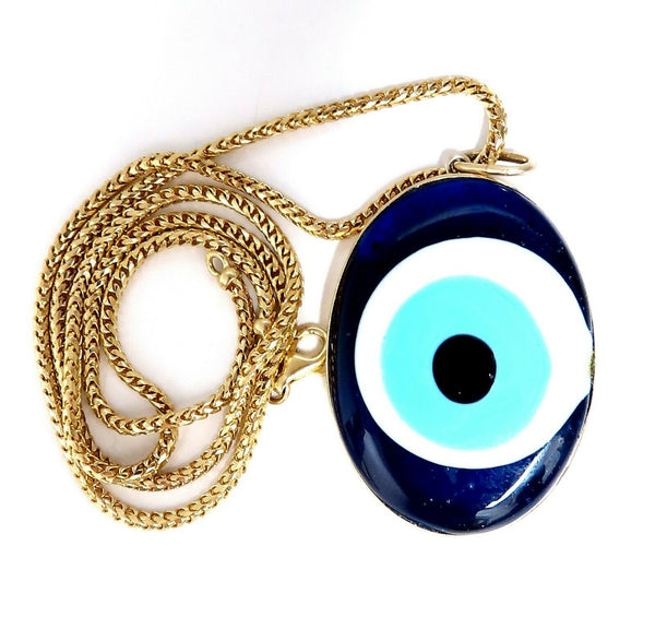 Evil Eye Exhibitionist Mod Deco Necklace 14 Karat Artisan Enamel
