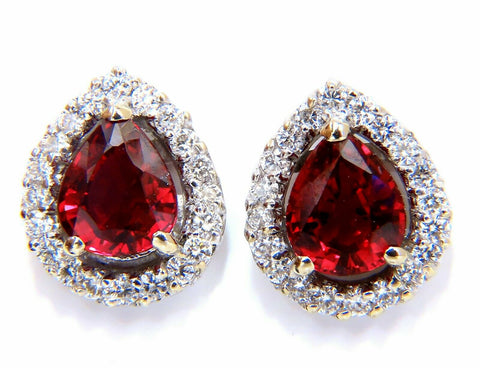 GIA Certified 1.19 & 1.28ct. Natural ruby diamond earrings 18 Karat Cluster