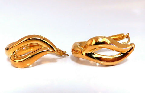 Elongated Flaming Hoop Gold Earrings 14 Karat
