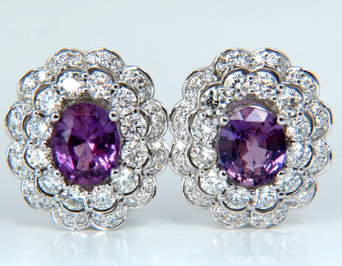 GIA 5.40CT NO HEAT VIVID PURPLE PINK SAPPHIRES DIAMOND EARRINGS UNHEATED