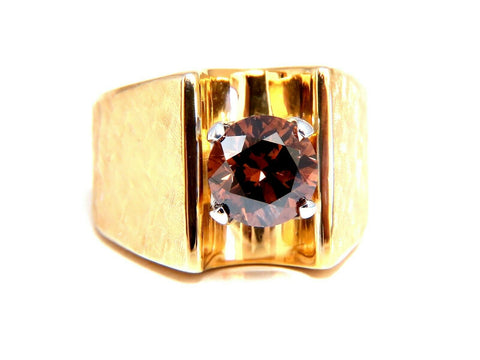 Vintage GIA Certified Natural Fancy Orange Brown Color Diamond Ring 14 Karat