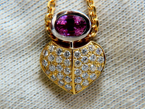 1.50ct Natural Pink Sapphire Diamonds Necklace 18 Karat