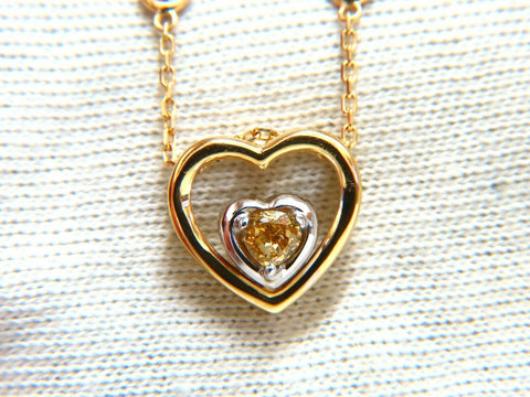 .34ct Natural Fancy color Heart Diamond Necklace 14 Karat