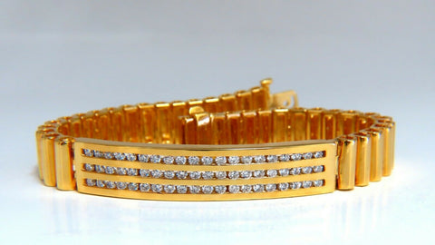 2.00ct Round Diamonds ID Tag Bracelet 14 karat Channel Three Row Smoothed Bar