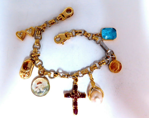Assorted Charms Bracelet 14 karat Hearts Libra Cross American Coin Pearl