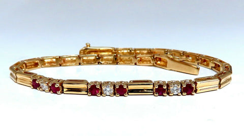 .80ct Natural Ruby .33ct Diamonds Vintage Bracelet 14 Karat