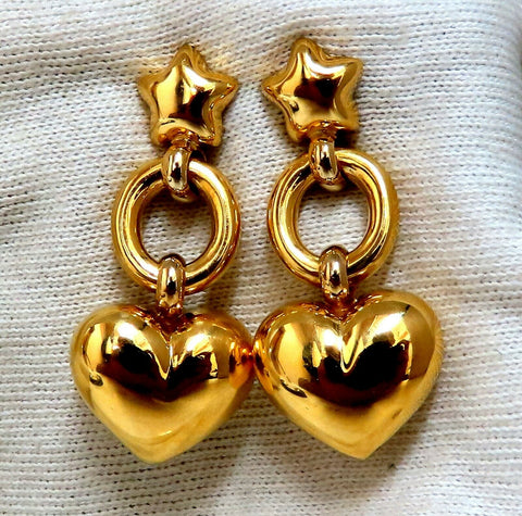 High Shine Domed Heart Star Circles Dangle Earrings 14 Karat Gold