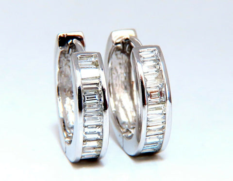 1.21ct Natural Baguette Diamond Hoop Earrings 14 Karat Gold