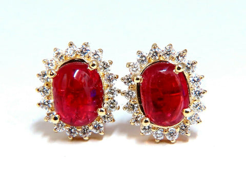 5.95Ct Natural Raspberry Red Spinel Diamonds Earrings 14 Karat Gold