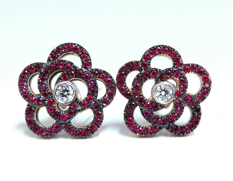 1.58ct Natural Ruby Diamonds Cluster Clip Earrings 14 Karat Gold Flower