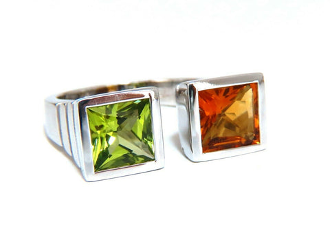 4.00ct natural citrine & peridot ring 18 Karat Mod Goth