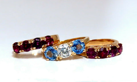 5.60ct Natural Ruby Sapphire Stackable Stacking Bands 14 Karat