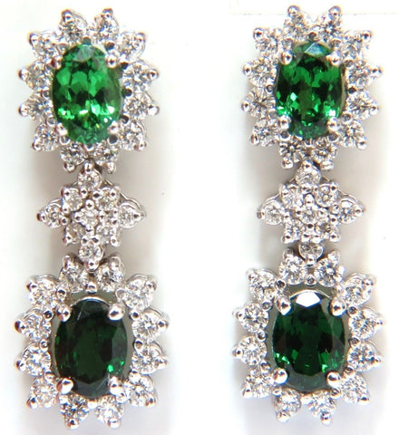 5.32CT NATURAL VIVID GREEN TSAVORITE DIAMOND EARRINGS 14KT HALO DANGLE