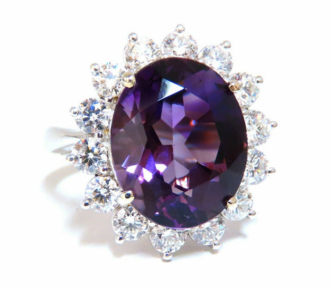 10ct Natural Vivid Purple Amethyst Diamonds Halo Cluster Cocktail Ring 14 Karat