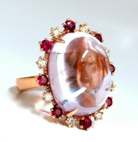 GIA Certified: 27.13ct Natural Pink Kunzite Ruby Diamonds Ring 14 Karat Gold
