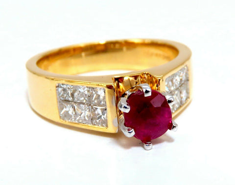 GIA Certified 1.04ct Natural Ruby Diamonds Ring 14 Karat Gold Cathedral Raised