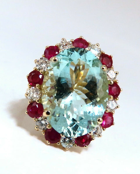 15.34ct Natural Aquamarine Ruby Diamonds Patriot Cluster Cocktail Ring 14 Karat