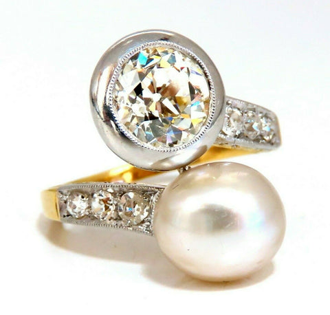 GIA Certified Natural Saltwater Pearl Light Yellow Diamonds Ring 18 Karat