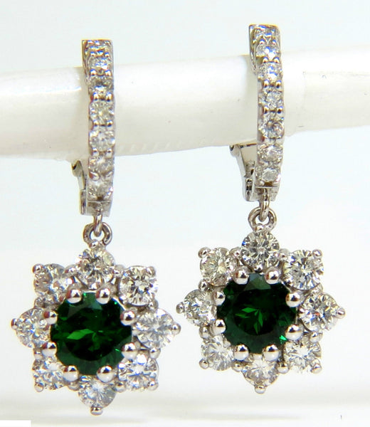 2.88CT NATURAL FINE GEM TSAVORITE DIAMOND DANGLE EARRINGS HOOP 14KT G/VS