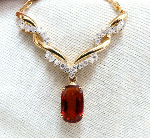 4.27ct Natural Spessartite Garnet Diamonds Necklace 14 Karat Vine Twist