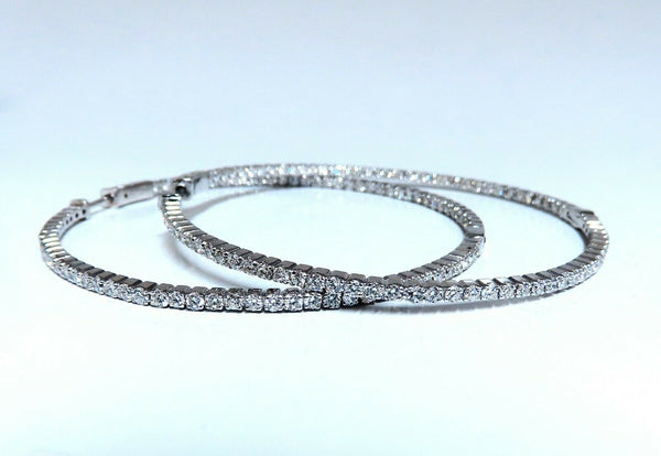 4.16ct Natural round brilliant in/out diamond hoop earrings 14 Karat 2.4 Inch