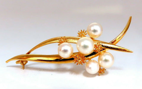 Akoya Pearls 14 Karat Gold Pin