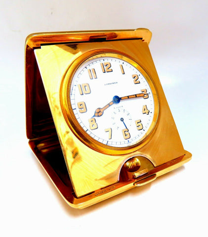 Authentic Gorham for Longines Travel Clock 14 Karat Folding 8 Day Power Reserve