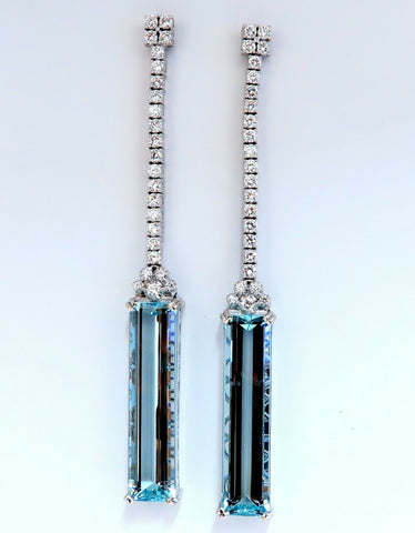 GIA Certified 62.22ct Natural Aquamarine Diamonds Dangle Earrings 18Kt Platinum