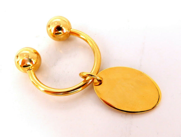 U Shaped Horseshoe Screw Ball Key Chain & Tag 14kt. gold