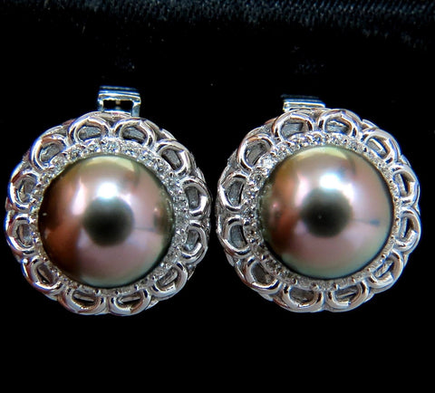 14KT 9.5MM NATURAL TAHITIAN HIGH LUSTER PEACOCK PEARL DIAMOND EARRINGS 14K